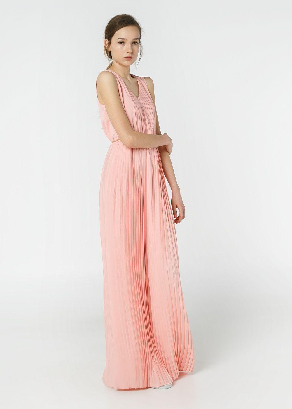 Robe longue rose pale mango