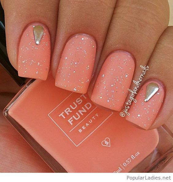 Light Orange Nails With Glitter And More Nail Art Pinterest