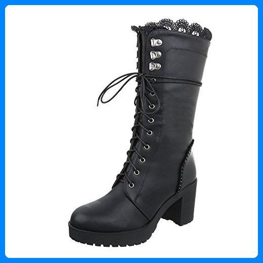 03e346817383d Schnürstiefel Damen-Schuhe Klassischer Stiefel Blockabsatz Schnürer  Reißverschluss Ital-Design Stiefel Schwarz, Gr 38, S305- - Stiefel für  frauen ...