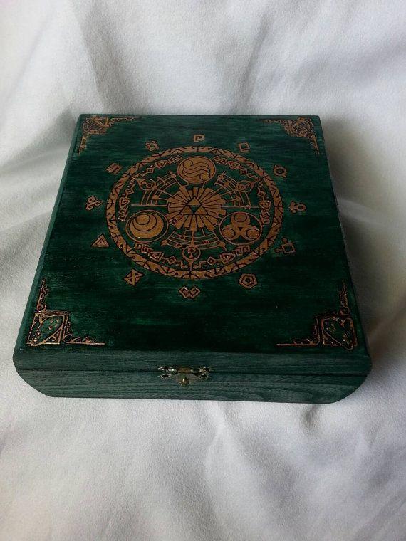 Zelda Hyrule Historia woodburned gold leaf by OtherNamesWereTaken