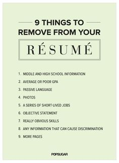 Awesome Come In To Career Services To Get Your Personalized Resume Review! 9 Things  To Remove