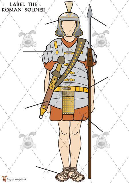 Teachers Pet  Roman Soldier Labelling colour  Premium Printable