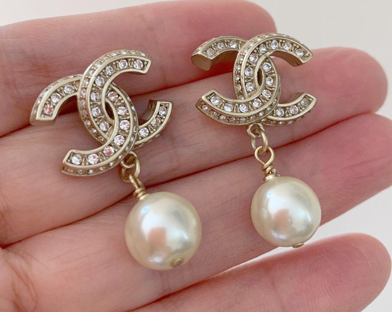 dfb9a7864 CHANEL+Classic+Crystal+Pearl+Dangle+Earrings+GOLD+CC+Stud+NIB ...