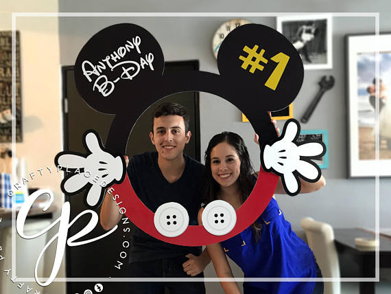 Mickey photo booth frame | Disney photo booth prop | Birthday photo booth | Mickey Mouse backdrop | Selfie frame | Printed