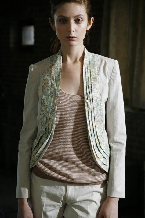 stella pattern - cream colored jacket, but use black leather where the floral fabric is.  burdastyle