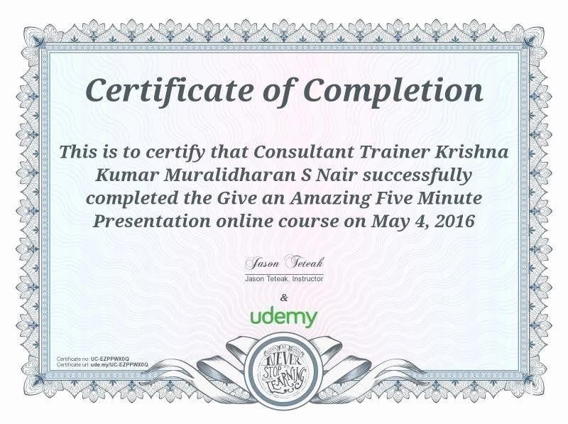 Google Docs Certificate Of Completion New Krishna Kumar Master Coach In Koramangala Ban Certificate Of Completion Communication Methods Internal Communications