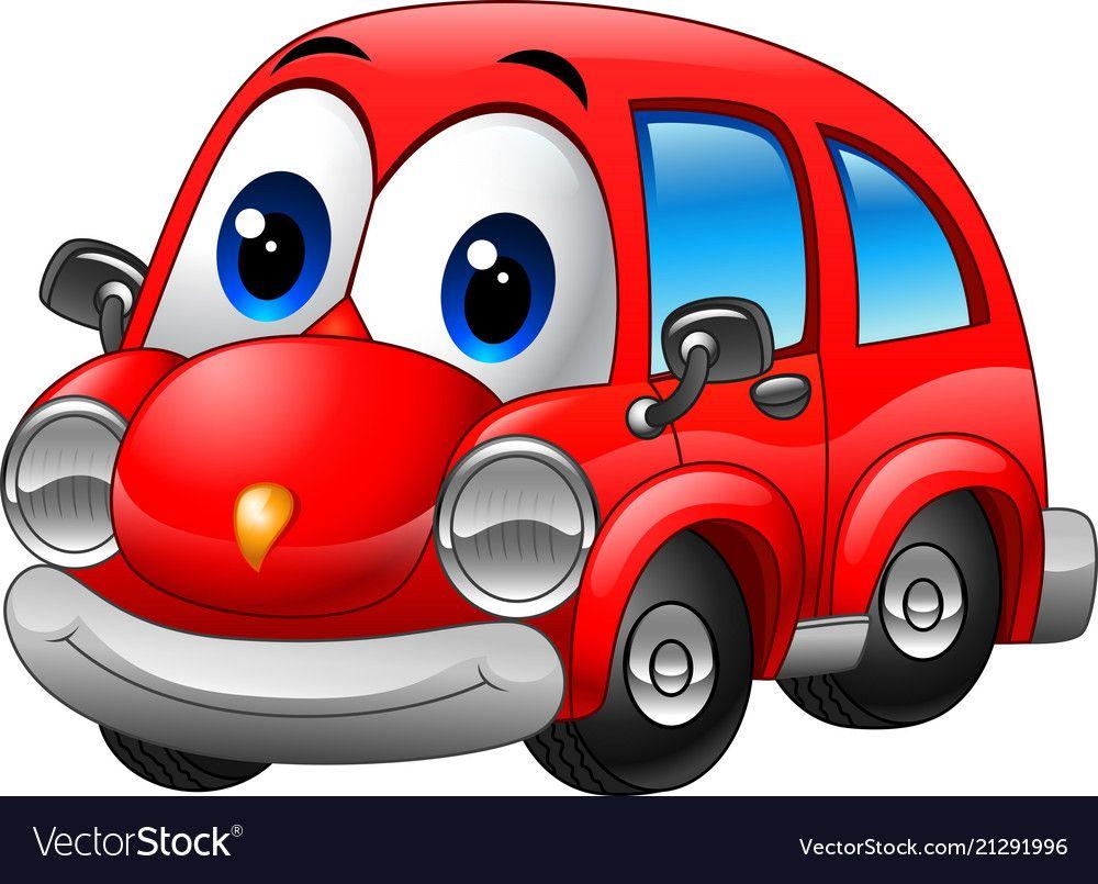 Cartoon Funny Red Car Vector Image On Com Imagens Pintura Em