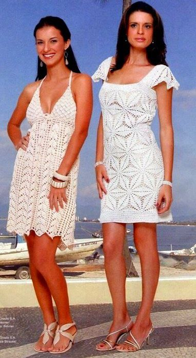 2 White Summer Dresses free crochet graph pattern