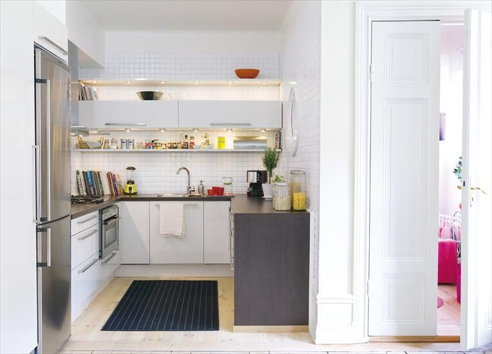 Kleine Keuken In U Opstelling Smalle Bovenkastje Open Planken