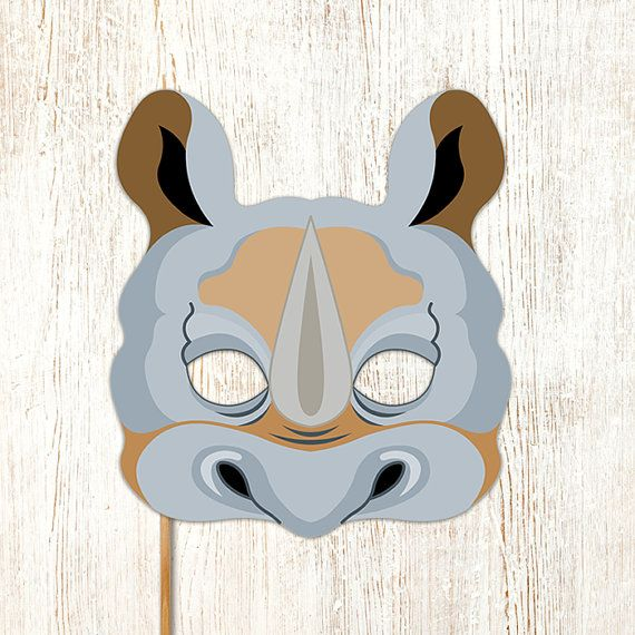 Rhino Printable Mask Gray Rhinoceros DIY Animal Masks Booth Prop ...