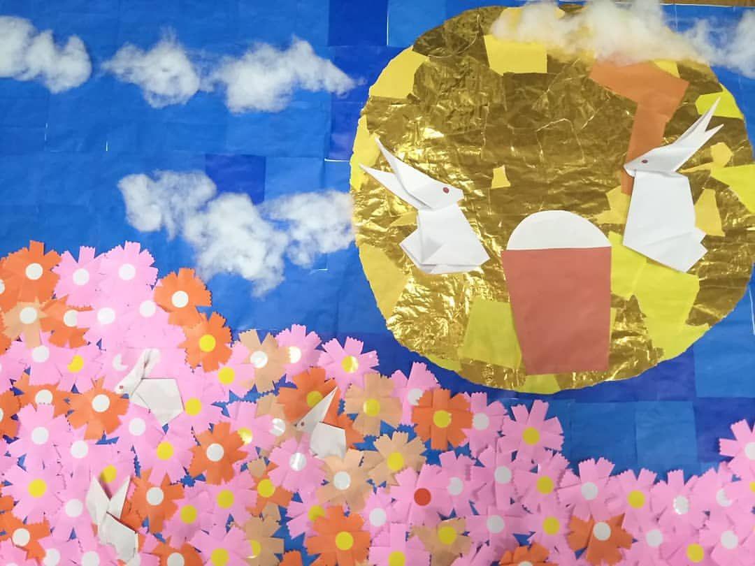 9月の壁紙 コスモス デイサービス 創作レク 壁面製作 折り紙 コスモス 壁面 折り紙 9月 壁面