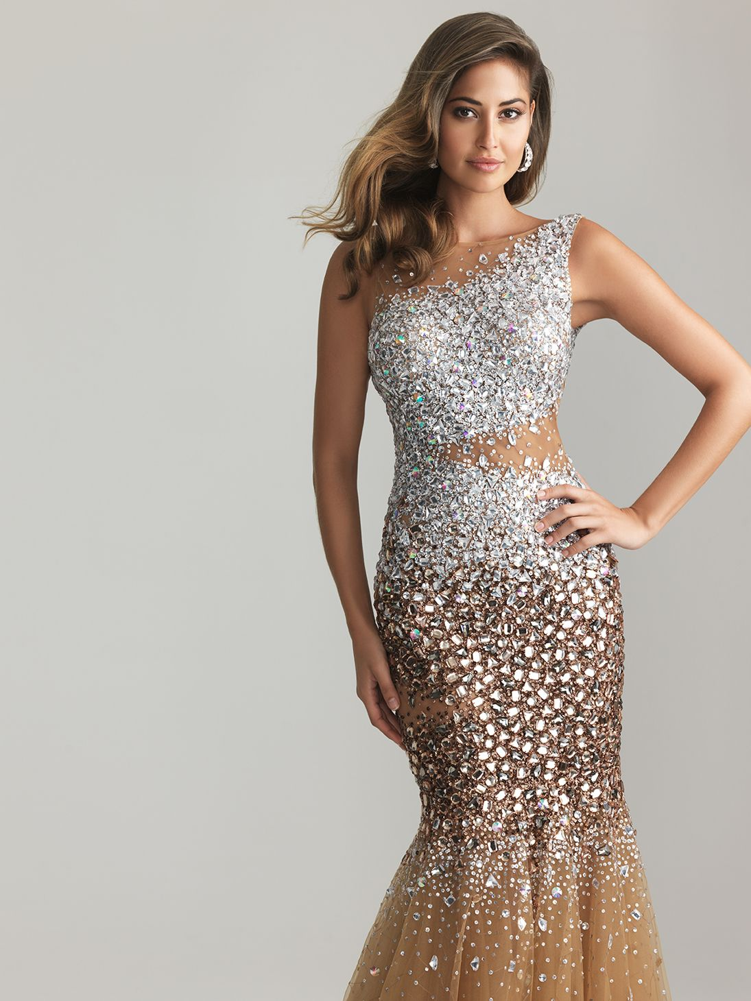 Nude Sheer Sequin & Tulle Low Back Mermaid Prom Gown - Unique ...