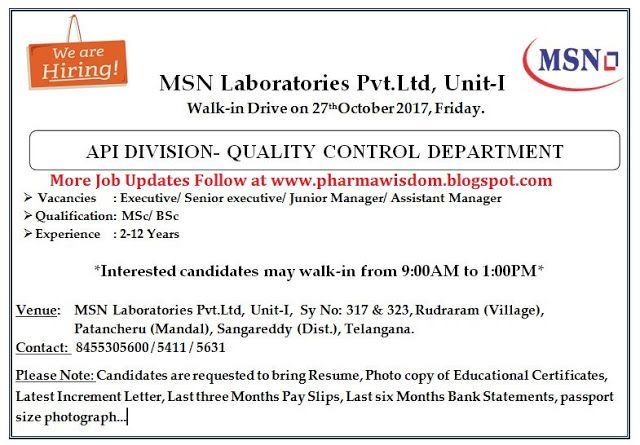 PHARMA WISDOM MSN Laboratories Pvt Ltd   Walk In Drive For Qual   Pay In  Pay In Slips