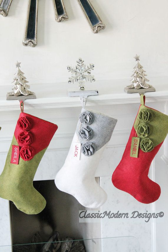 Handmade in USA Felt Family Stockings Unique Elegant Green Wool Felt Christmas Stocking Personalized Christmas Stocking