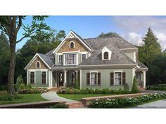 Home Plan HOMEPW74159 is a gorgeous 2828 sq ft, 2 story, 4 bedroom, 3 bathroom plan influenced by + Cottage  style architecture.
