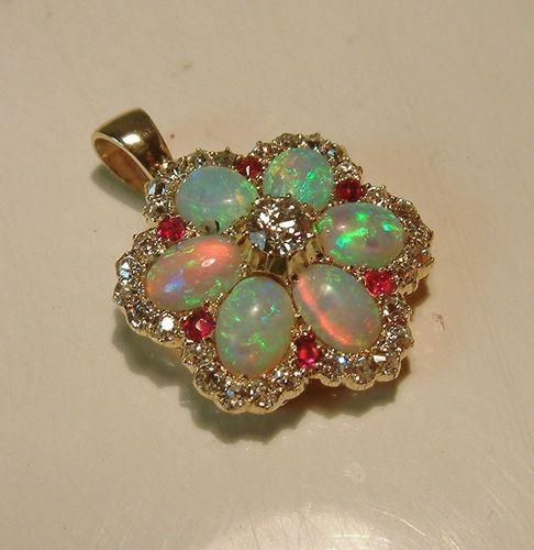 Antique Deco 14k Gold Opal Diamond Ruby Flower Pendant Vintage Fine Jewelry   eBay