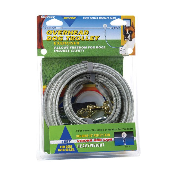 Trolley Exerciser - Silver - Heavy Weight - 100 ft.  | Let your dog have freedom without leaving the yard, even if you don't have a fence. This heavy-duty silver trolley line gives your pooch 100 feet of roaming space without leaving your sight. Suitable for dogs over 50 lbs.