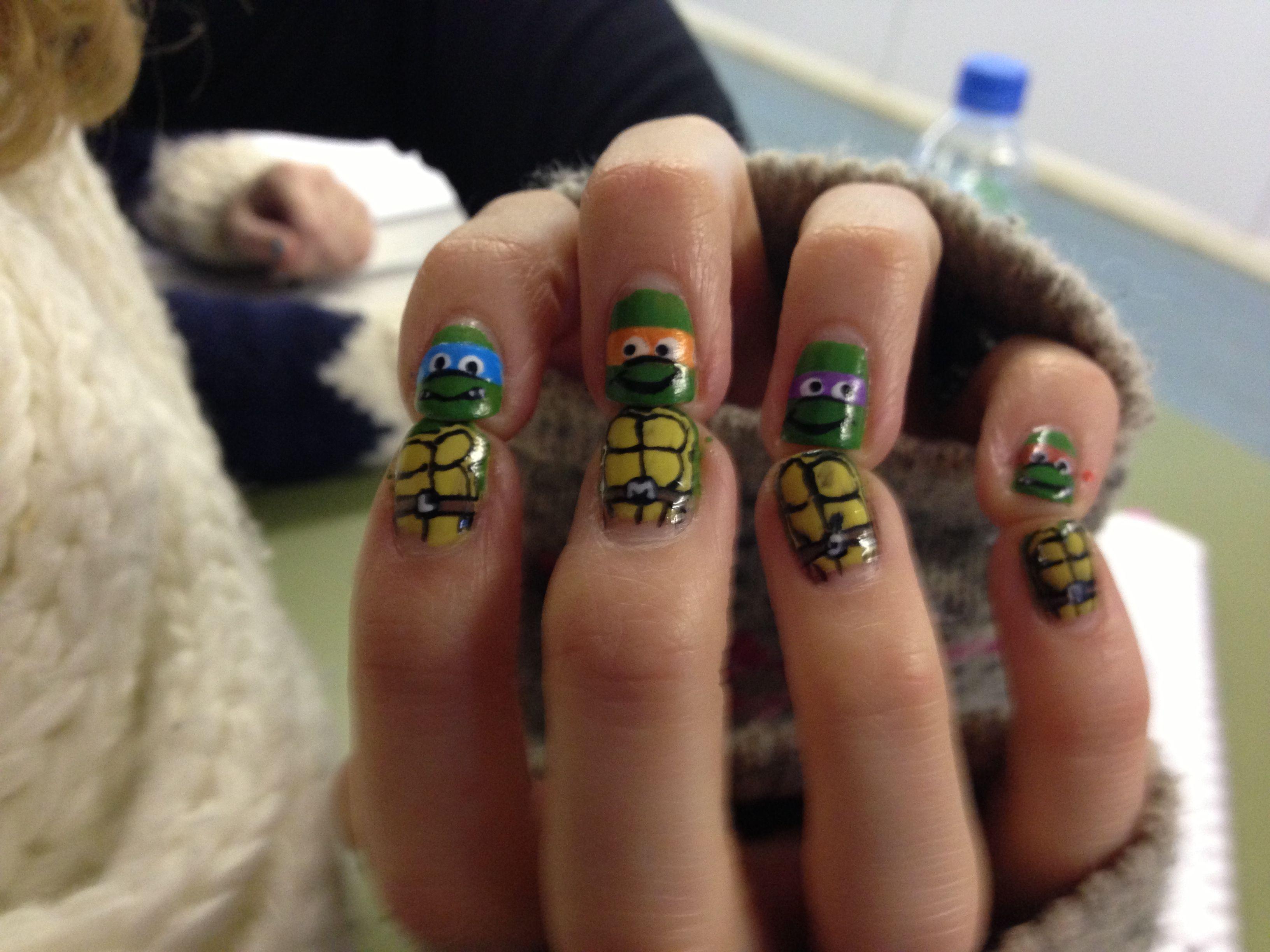 Teenage mutant ninja turtles nail art beauty pinterest turtle