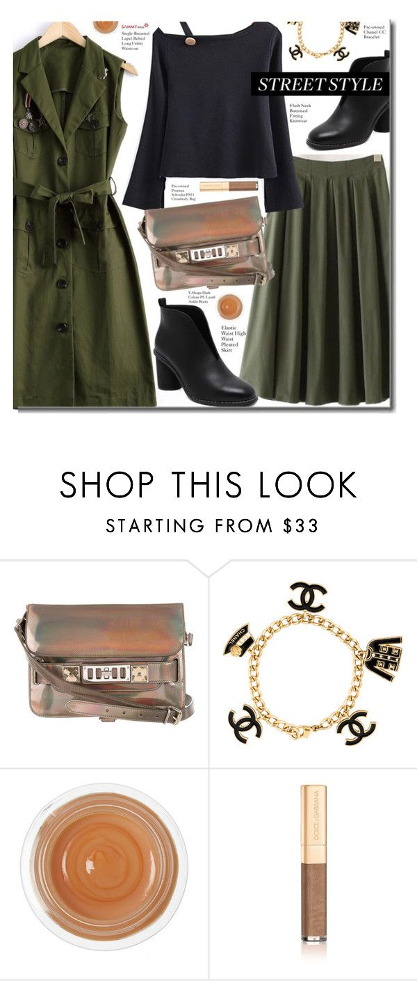 """Fall"" by beebeely-look ❤ liked on Polyvore featuring Proenza Schouler, Chanel, Dr. Sebagh, Dolce&Gabbana, ankleboots, pleatedskirt, sammydress, fallfashion and falltrend"