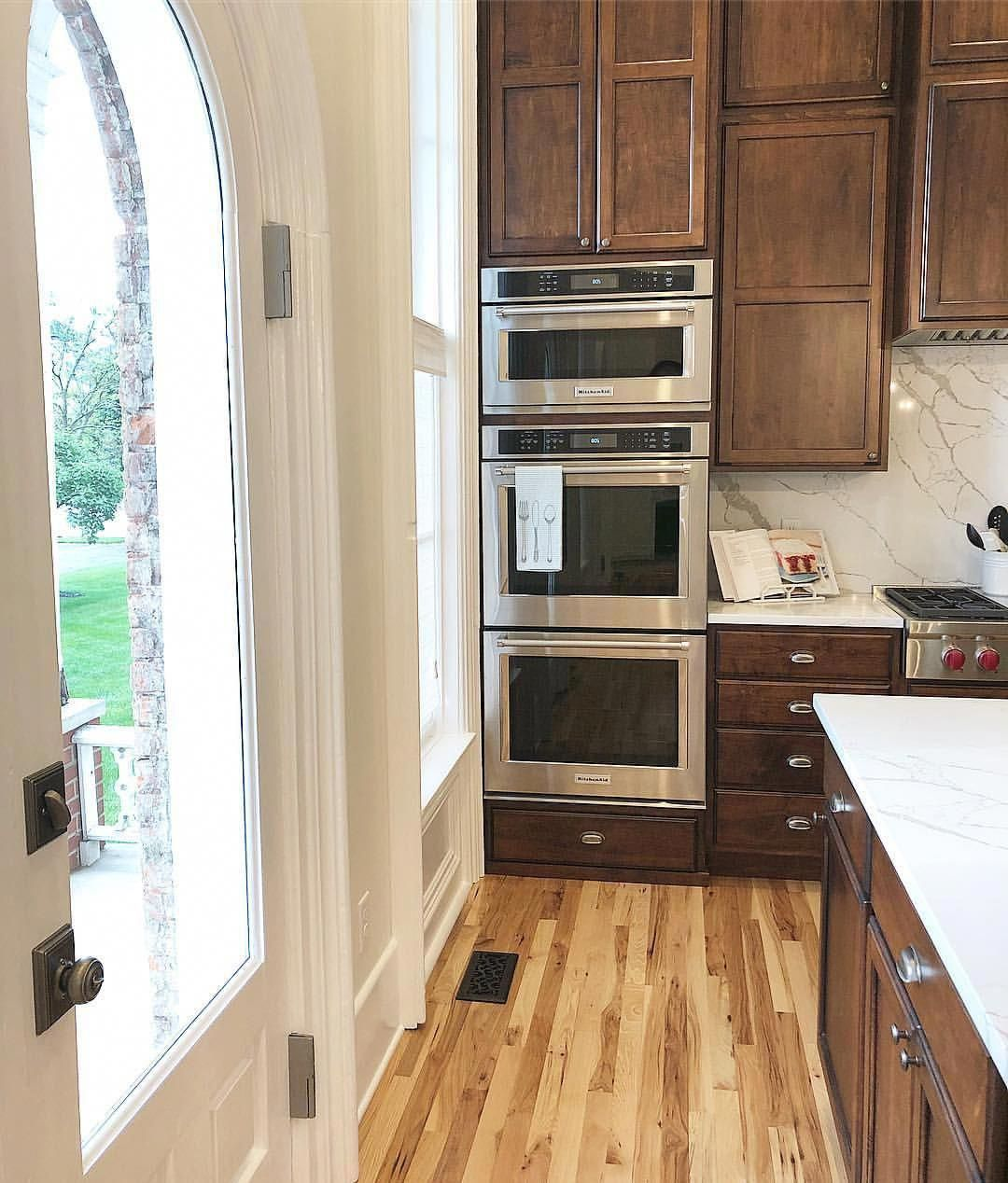 Multiple ovens in our kitchen. Natural hickory floors ... on Kitchen Backsplash With Natural Maple Cabinets  id=72563