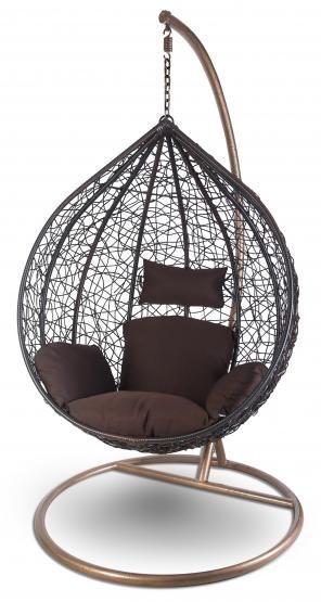 h ngesessel mit gestell h ngekorb polyrattan h ngestuhl h ngeschaukel dunkelbraun gro. Black Bedroom Furniture Sets. Home Design Ideas