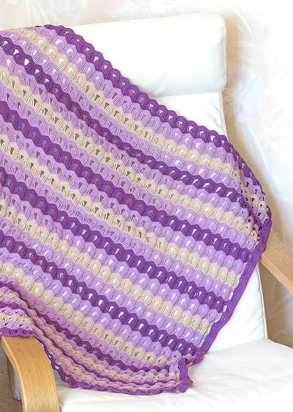Easy] Vintage Fan Ripple Stitch Pattern | Ripple and Chevron Afghans ...