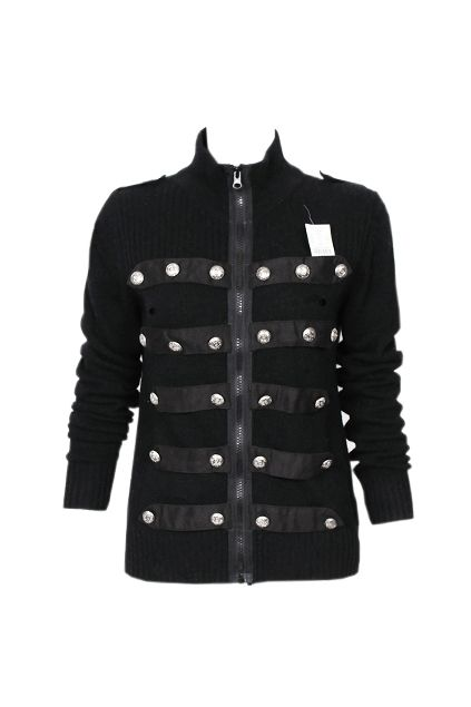 Symmetric Buttons Black Cardigan