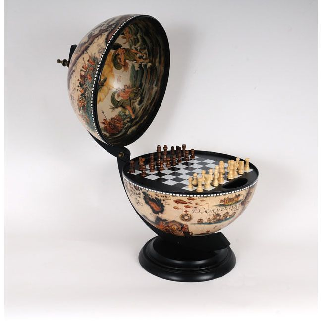 Bring a gorgeous look to your office or home with this beautiful chess set and board, which come in a globe. The frescoes on the globe's inner lid and an ancient nautical map on the outside give the set an elegant antique style that's sure to impress.