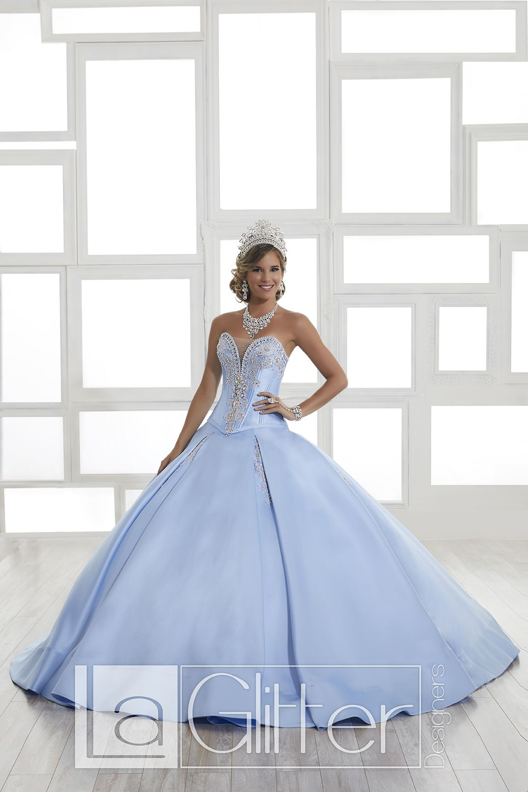 553e26314a This House of Wu 24029 baby blue  Quinceanera dress features a strapless  corset bodice