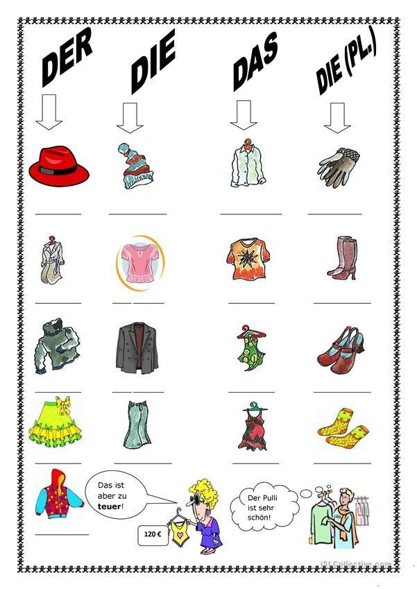 kleidungen kleidung im gesch ft daf arbeitsbl tter und spiele german language learn. Black Bedroom Furniture Sets. Home Design Ideas