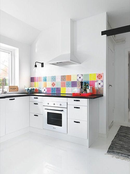 Newson Smeg oven, patterned tile splashback by sososimps Kitchen