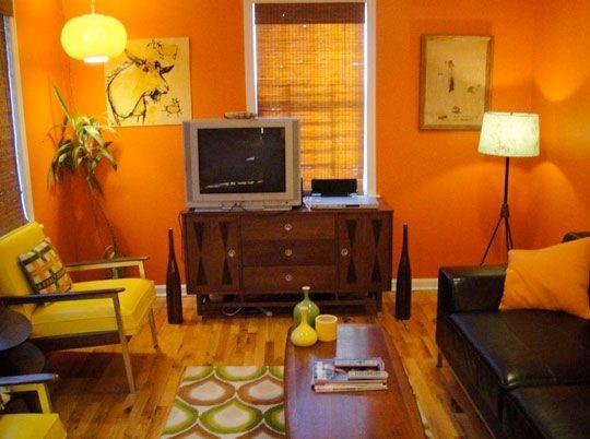 Rachael S 70s Orange Living Room Living Room Orange Brown