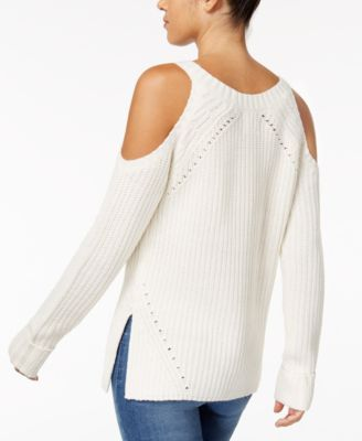 d484340ade643 Hippie Rose Juniors  Cold-Shoulder Sweater - Ivory Cream XL ...