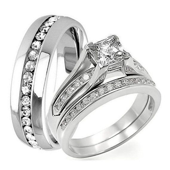 3 Pc His Hers Engagement Wedding Bridal Band Ring Set Princess Cut 1 25ct Cz Cubic
