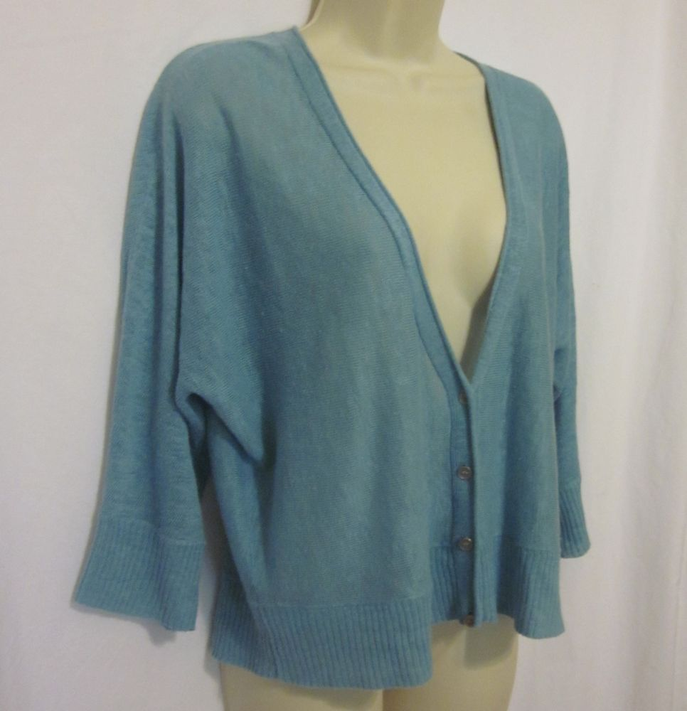Eileen Fisher Baby Blue Cardigan Sweater 3/4 Length Sleeves XL ...