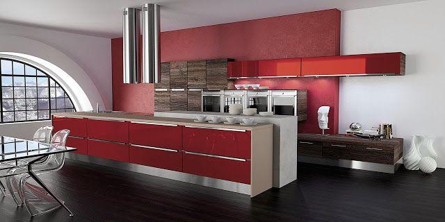 Cuisine moderne rouge et bois par Morel Conception avec mur en