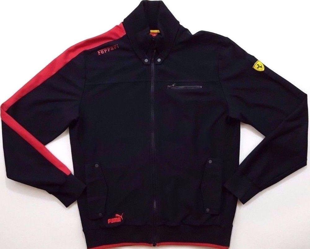 PUMA Ferrari TRACK Jacket LARGE Black FULL Zip LOGO Patch OFFICIAL Product  MENS*