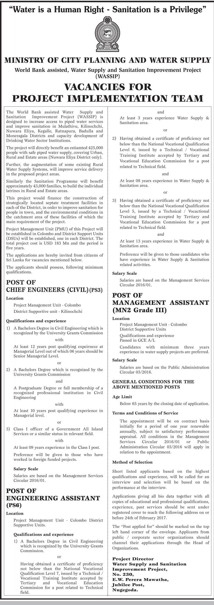 Chief Engineer Civil Engineering Assistant Management
