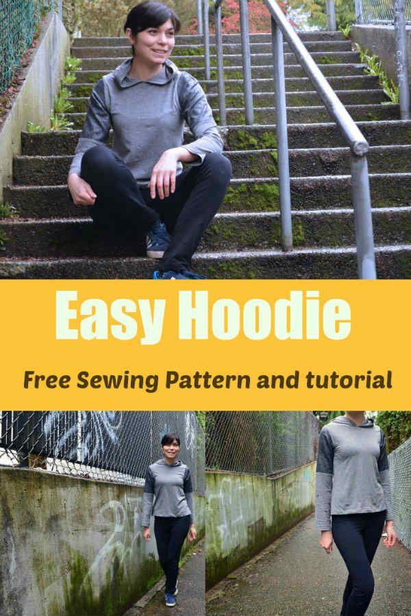 Patron gratuit : hoodie (sweat à capuche) facile | Couture