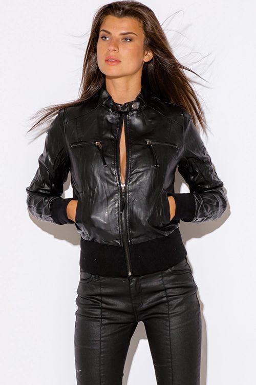 bb2f96644 Cute cheap black faux zipper trim leather ribbed bomber moto jacket ...