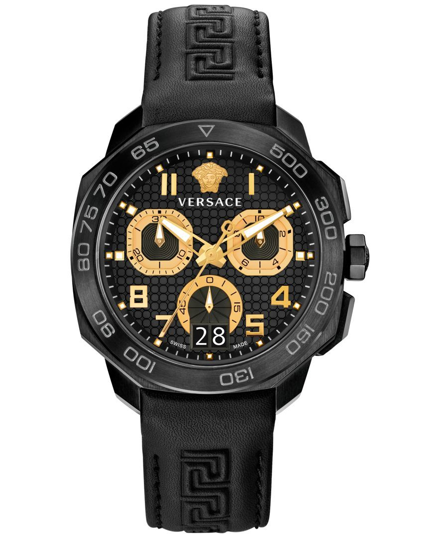 Gold-tone highlights really pop on this all-black timepiece by Versace, adding just a subtle hint of sexy style. | Black leather strap | Round black ion-plated stainless steel case, 44mm | Black textu