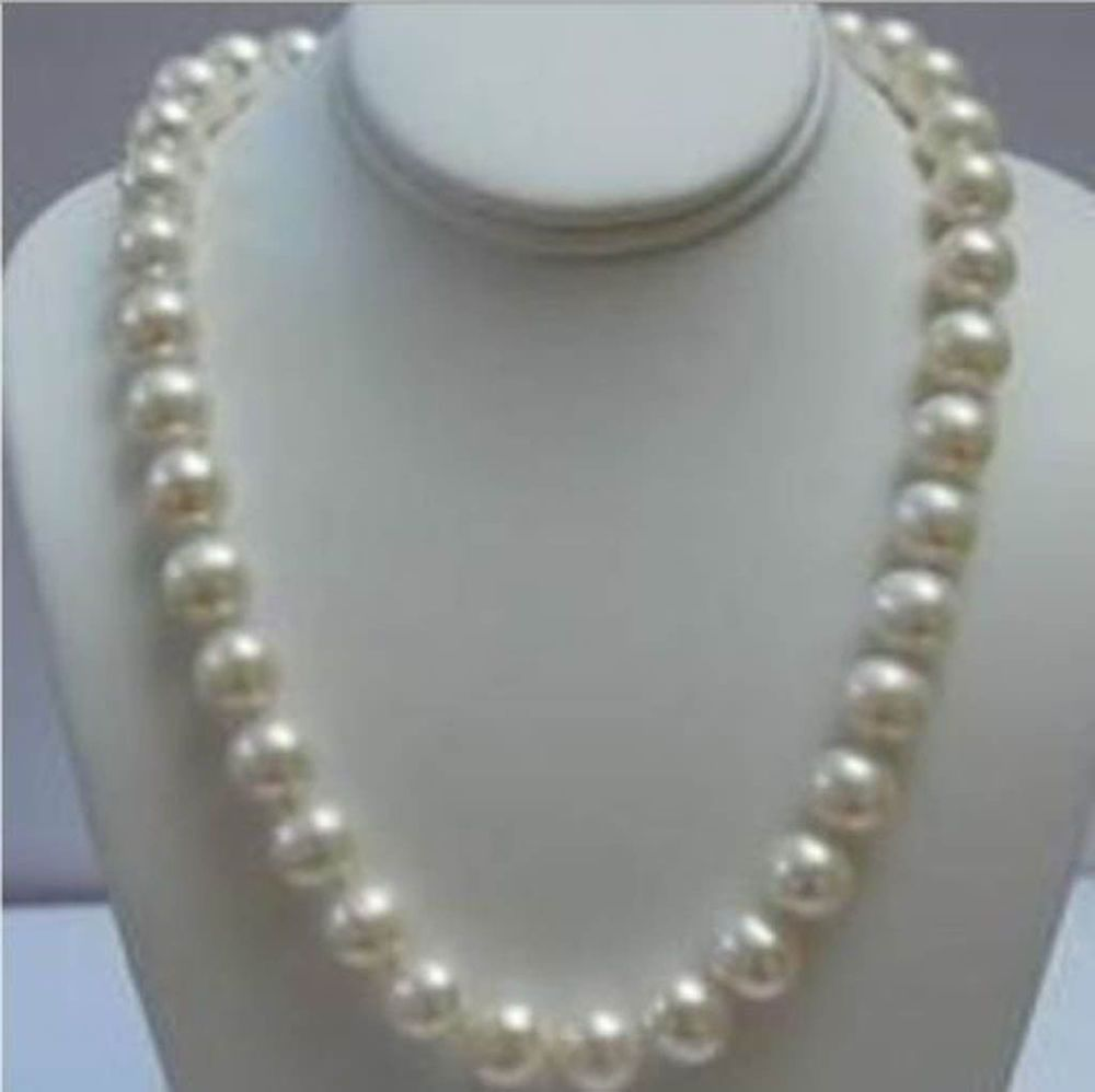 Natural 20 Inches 9 10mm White Akoya Pearl Necklace 14k Clasp Aa White Freshwater Pearl Necklace Genuine Pearl Necklace White Pearl Necklace