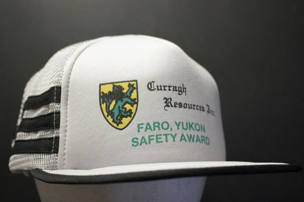 vintage 3 stripe mesh trucker hat cap safety award faro yukon