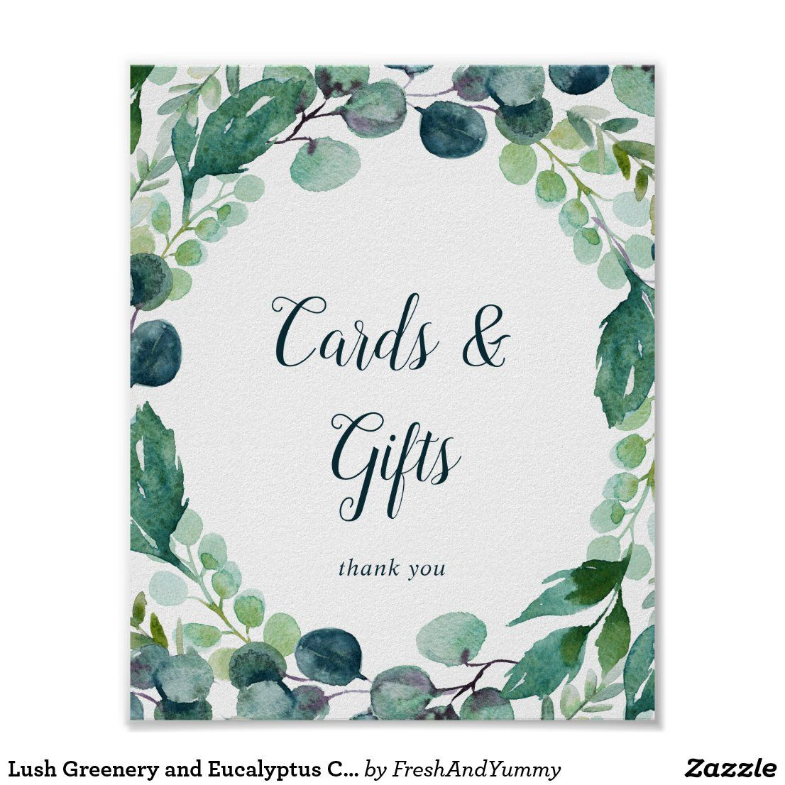Lush greenery and eucalyptus cards and gifts sign zazzle