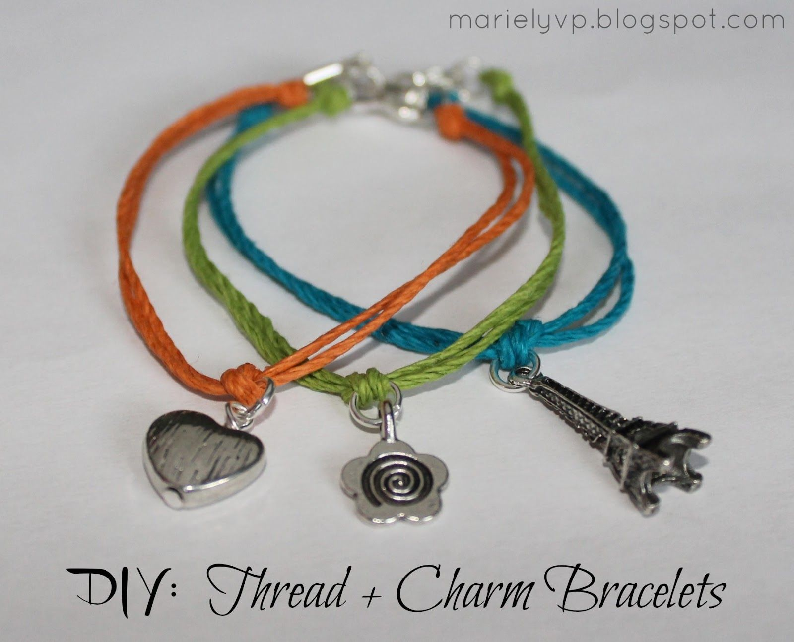 Learn how to make these simple bracelets DIY Thread Charm