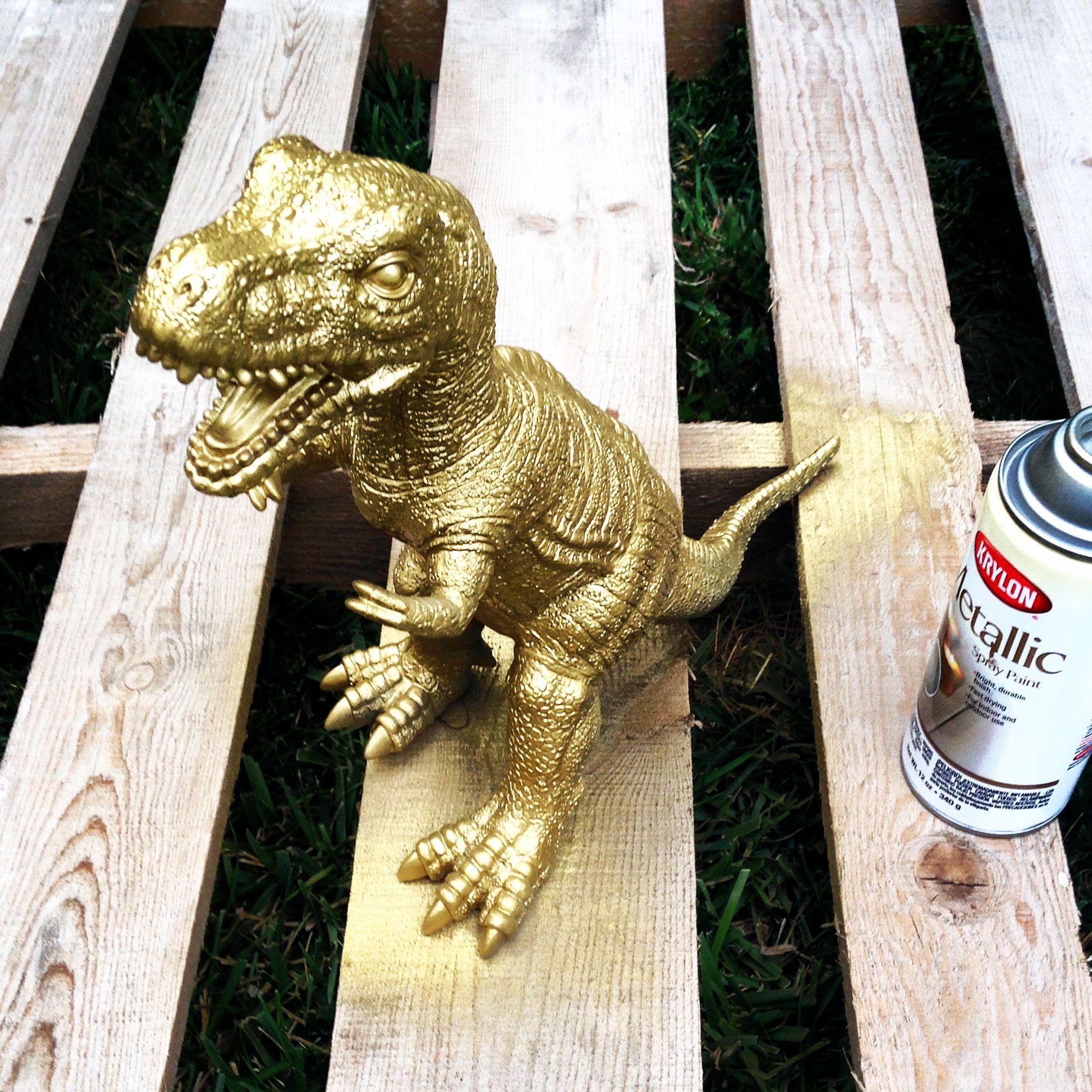DIY centerpiece golden dinosaur