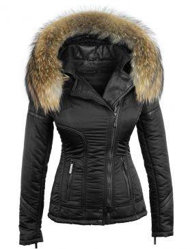 93e72f214a683b Zwarte winterjas dames met bontkraag van Versano