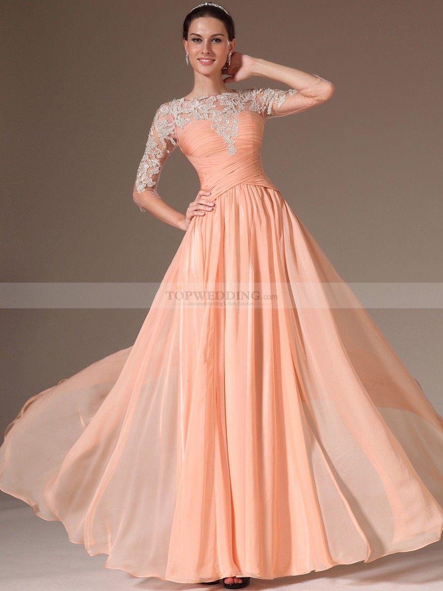 Appliqued Sheer Half Sleeved Chiffon A Line Prom Dress | Sleeve, A ...