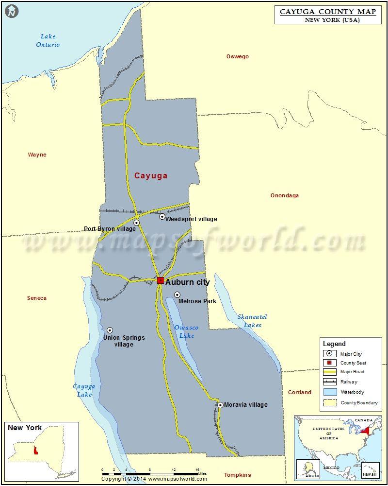 New york cayuga county - Cayuga County Map For Free Download Printable Map Of Cayuga County New York