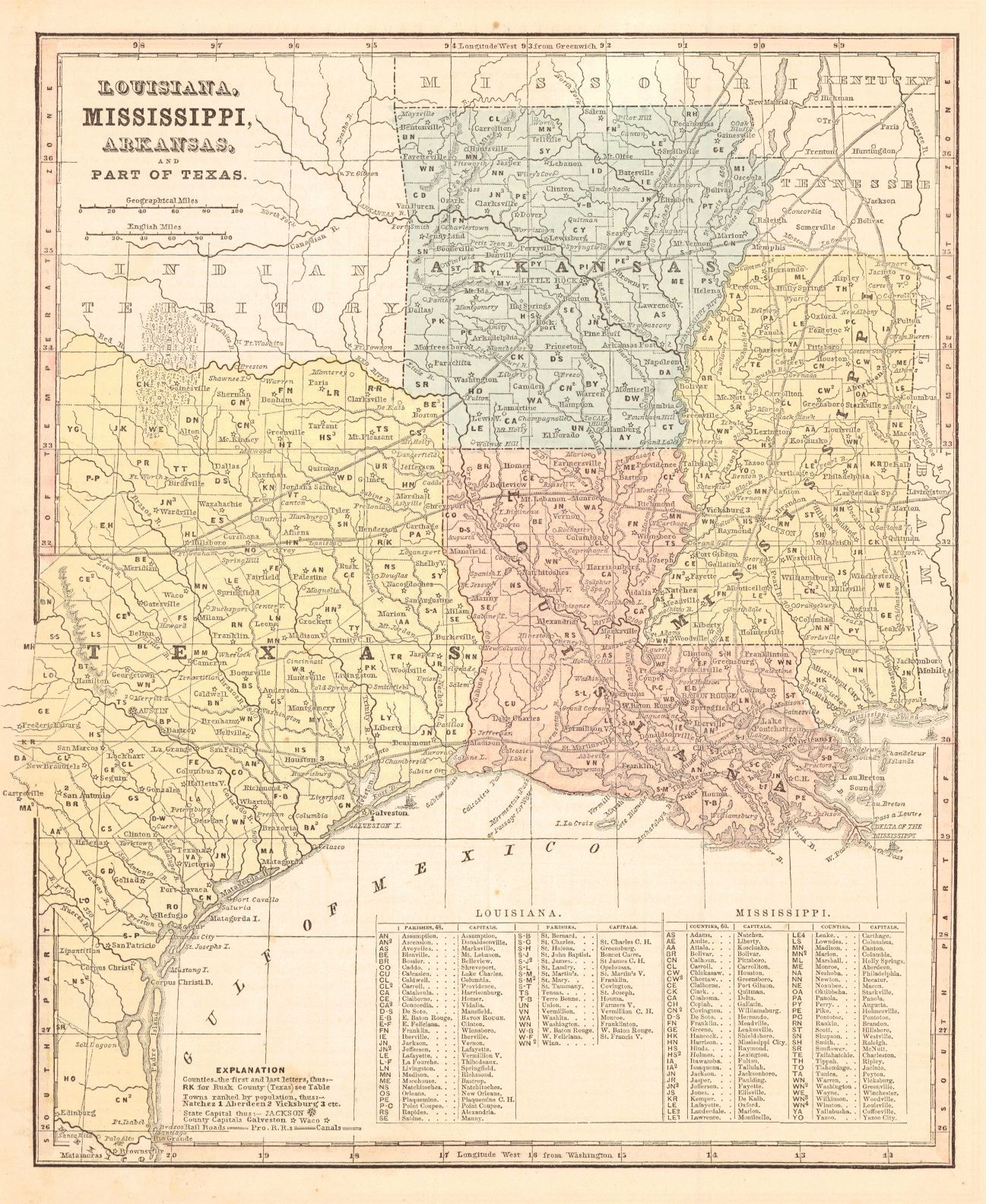 Map Antique Louisiana Mississippi Arkansas And Part Of Texas